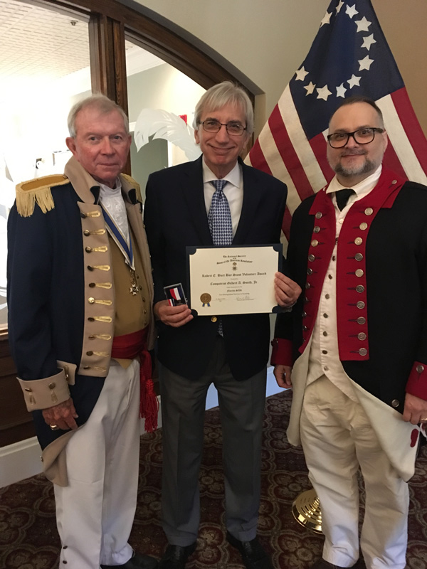 Douglas Erb: President of the Saramana Chapter of SAR, Judge Gilbert A. Smith, Jr., and Steve Fields