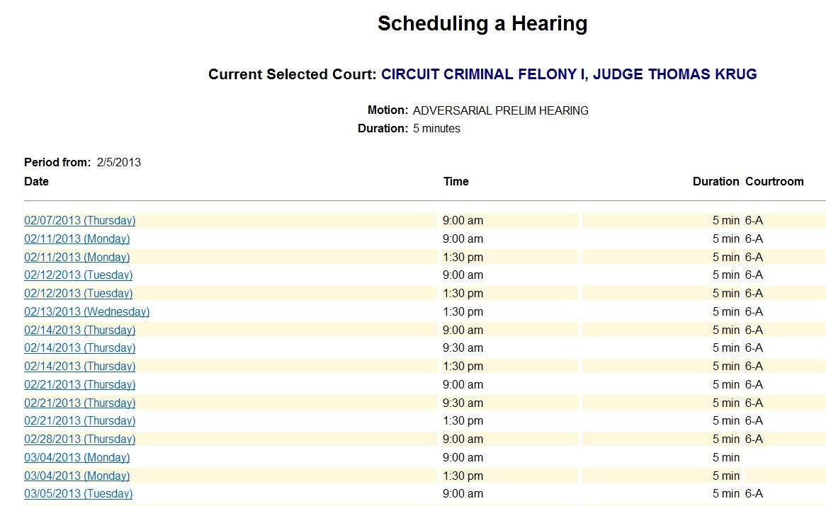 Schedule Hearing Date Selection